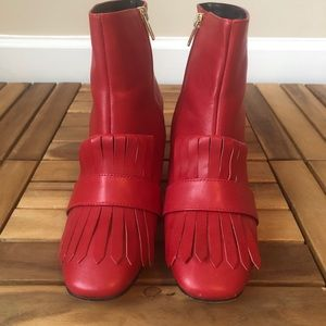 Steven Kittie Booties Red Leather 9M